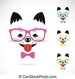 Vector images of dog wearing glasses on white background.