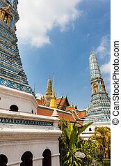 Eight prangs - famous Prangs in the Grand Palace in Bangkok,...