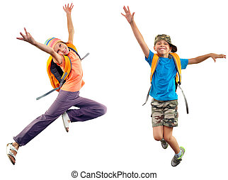 happy schoolgirl with backpack jumping