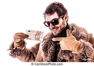 Euro bonus - a young man wearing a sheepskin coat isolated...