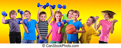 Team of sportive kids friends with dumbbells and ball - Team...