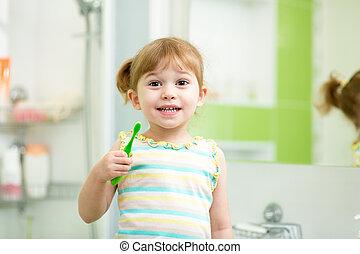 Spazzolatura, bagno, bambino, denti, ragazza, capretto