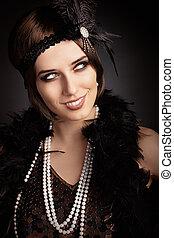 hermoso, Retro, mujer, en, 20s, style, ,