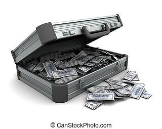 maleta, con, dinero,