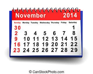 november 2014 - 3d illustration of november 2014 folding...