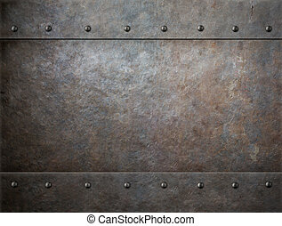 old rusty metal background - grunge metal with rivets...