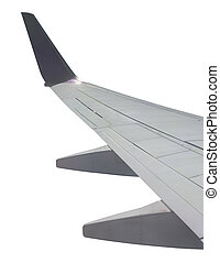 Airplane wing view from window with clipping path included