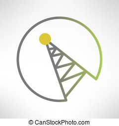Mobile signal tower station in flat design. Vector - Mobile...