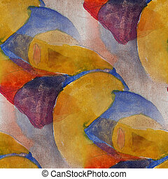 artist seamless yellow, dark blue cubism abstwatercolor...