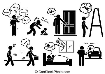 Paranoid Paranoia Cliparts - A set of human pictogram...