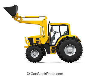 Yellow Tractor Loader isolated on white background. 3D...