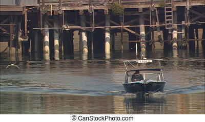 MS Wharf And Boat 2 - MS of Fisherman\'s Warf in Monterey,...