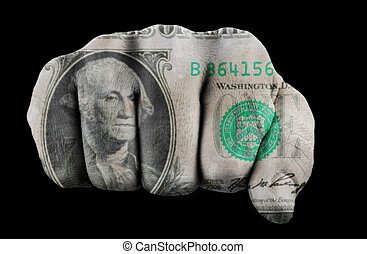 fist with one us dollar isolated on black