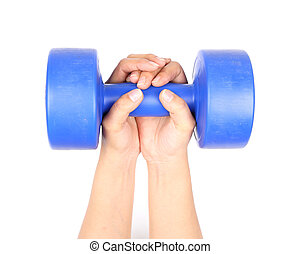 hand with blue dumbbell on a white