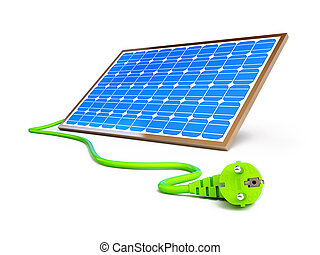 solar panel power plug on a white background