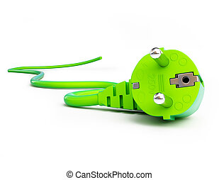 green power plug on a white background