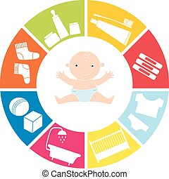 baby items - range of subjects for the newborn baby. Vector...