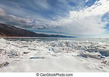 Ice hummock,  winter Baikal lake