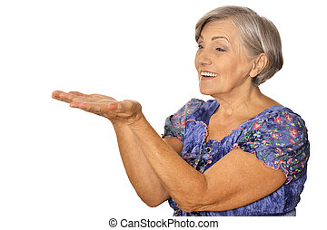 Emotional elderly woman on a white background