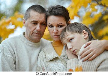 triste, família, de, três,