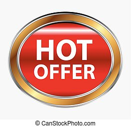 Hot offer button icon or sign