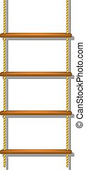 Wooden rope ladder with shadow on white background