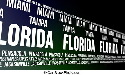 Florida State and Major Cities - Animated scrolling banner...