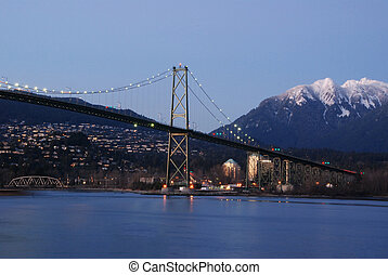 Night scene of downtown Vancouver in Stanley Park