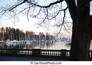 One side of view at downtown Vancouver in Stanley Park