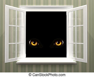 Eyes of monster in open window - Yellow eyes of monster in...