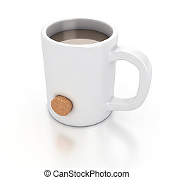 White mug - Illustration of a white mug with an hole