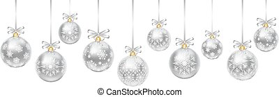 silver baubles - Silver hanging baubles with bows isolated...