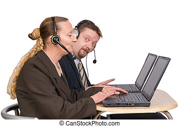 E-commerce agents on laptop - Mature couple of call-center,...