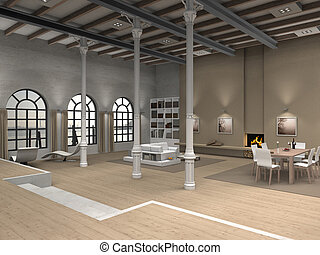 loft interior - 3D loft interior rendering living and dining...