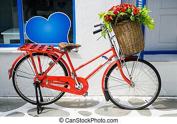 vintage red bicycle - Vintage red bicycle with Flower Basket...