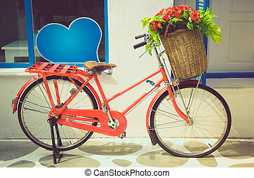vintage red bicycle - Vintage red bicycle with Flower Basket...