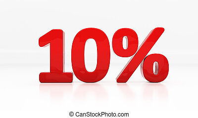 3D ten percent - Ten percent off Discount 10 3D illustration...