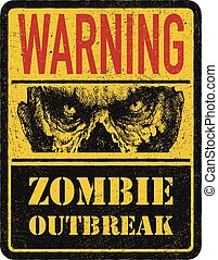 Zombie. Warning sign. Hand drawn. Vector illustration eps8 -...