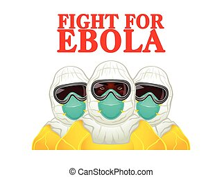 Fight for Ebola - African health workers in Ebola-protective...