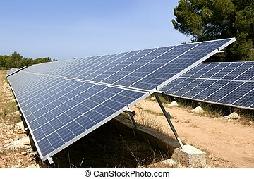 Solar cell panels in a row on Mediterranean electric plant