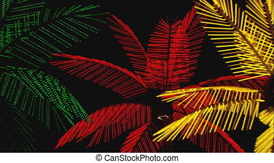 Neon Palm Trees zoom - Zoom out to WS low angle of neon palm...
