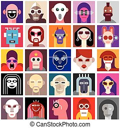 People Wearing Masks - People Wearing Masks. Collage of a...