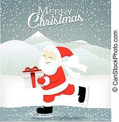 Santa skate on ice
