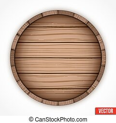 Wooden cask for alcohol drinks emblem. Vector illustration...