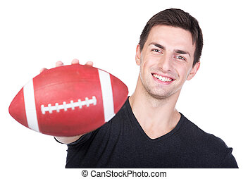 Football fans - Young man set against a white background...