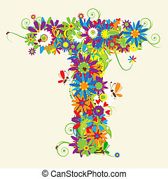 Letter T, floral design. See also letters in my gallery