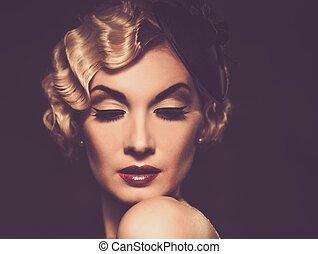 elegante, rubio, Retro, mujer, en, velo, con, hermoso,...