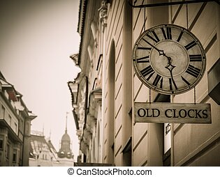 Old clock shop in a Prague