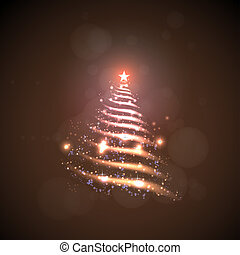 Abstract Christmas tree made of sparkles and lights, EPS10...