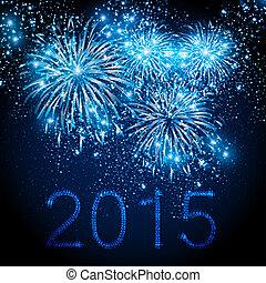 Feliz, Novo, ano, 2015, fogos artifício, fundo,...
